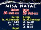 Jadwal Misa Natal 2019 di Gereja St.Aloysius Gonzaga – Paroki Cijantung – Jakarta Timur
