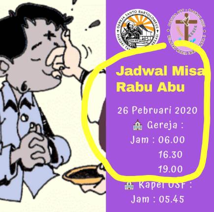 Jadwal Misa Rabu Abu Gereja Santo Bartolomeus Galaxy